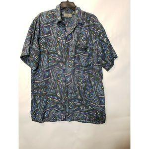 Robert Stock 100% silk short sleeve shirt Size XL